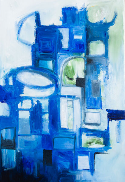 Abstract blue hues oil art print on paper and canvas 'Serious Moonlight' www.jenniferlia.com