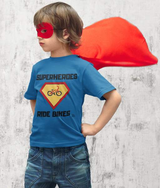 Superheroes Ride Bikes Pedal Threadz T-Shirt Gift Ideas For Cyclists Kids