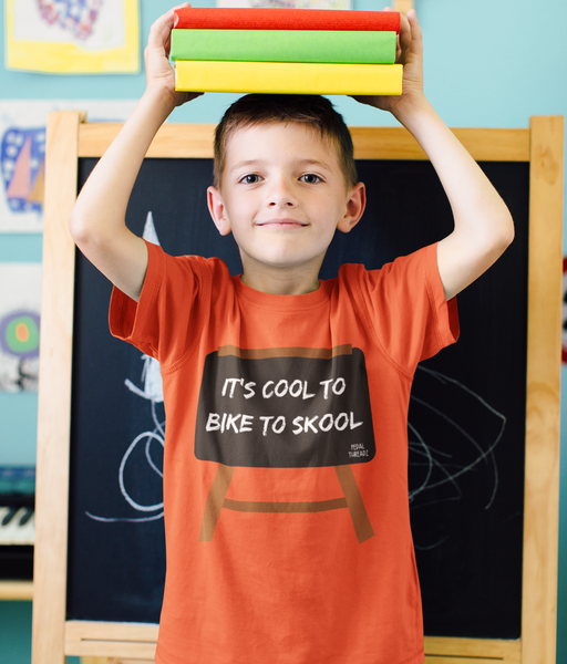 Pedal Threadz T-Shirt Gift Ideas For Cyclists - It's Cool To Bike To School - Kids