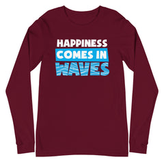 Happiness Comes in Waves Men's Long Sleeve Beach Shirt