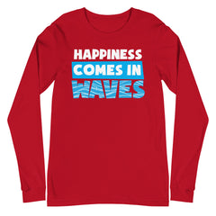 Happiness Comes In Waves Women's Long Sleeve Beach Shirt
