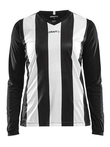 CRAFT PROGRESS JERSEY STRIPE LS WMN BLACK/WHITE XL