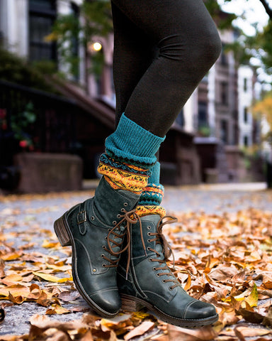 Taos Crave Combat Fashion Boots in Teal