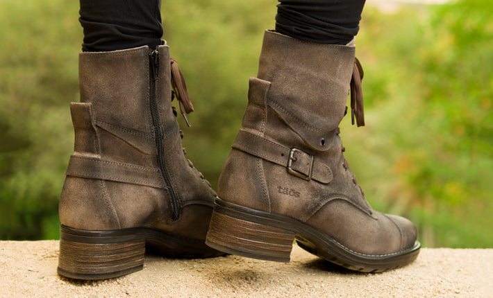 Taos Crave Fashion Combat Boots in Smoked Rugged