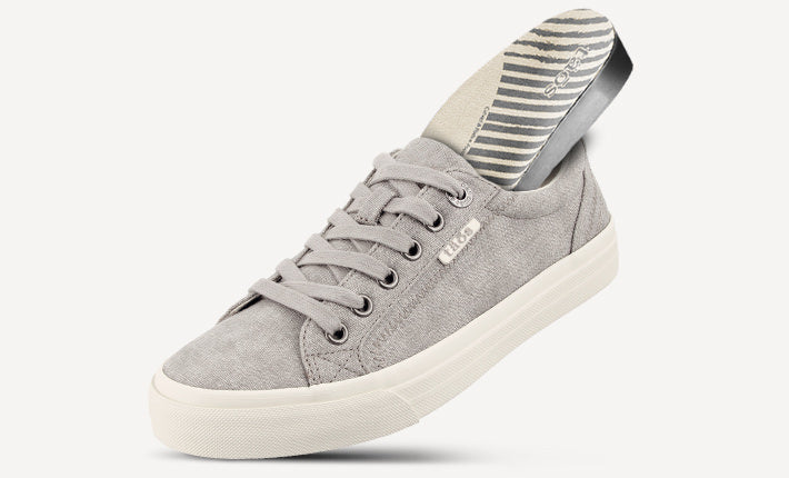 Taos Plim Soul Lace Up Grey Canvas with Active Footbed featured