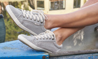 Star Sneakers in Grey Wash Canvas