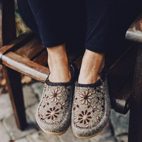 Taos Woolderness 2 Taupe Comfortable and Cozy Cork Outsole Clogs