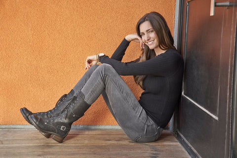 Taos Tall Crave in Black Rugged Leather