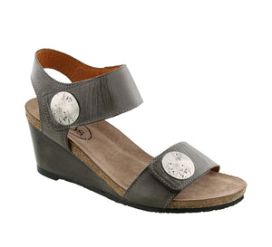 Three quarter angle of Graphite wedge sandal featuring hook and loop straps and rubber outsole - size 36