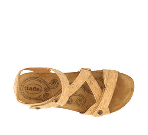 Top Down Angle of Natural Cork leather thong sandal with adjustable closure and rubber outsole - size 36