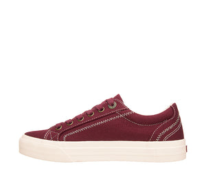 """Instep of Plim Soul Burgundy Canvas sneaker with laces, removable footbed, & durable, flexible rubber outsole. - size 6"""