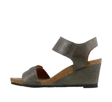 Load image into Gallery viewer, Instep angle of Graphite wedge sandal featuring hook and loop straps and rubber outsole - size 36