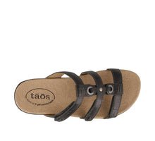 Load image into Gallery viewer, Top down Angle of Black Slide sandal with three adjustable hook & loop straps  - size 7