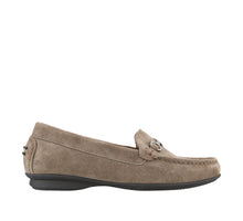 Load image into Gallery viewer, Outside angle of Grey Suede loafer featuring suede upper materials and a suede footbed - size 6
