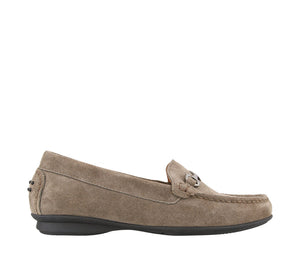 Outside angle of Grey Suede loafer featuring suede upper materials and a suede footbed - size 6