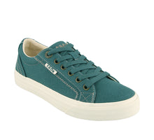 "Load image into Gallery viewer, ""3/4 Angle of  Plim Soul Teal Green Canvas sneaker with laces"