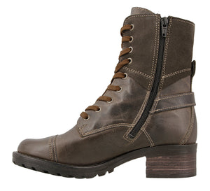 Instep angle of Grey lace up combat boot with removable footbed and rubbe outsole - size 36