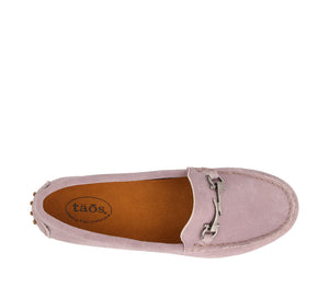 Top down angle of Mauve Suede loafer featuring suede upper materials and a suede footbed - size 6