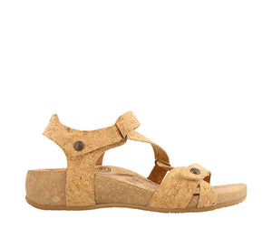 Outside Angle of Natural Cork leather thong sandal with adjustable closure and rubber outsole - size 36