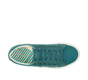 """Top down of Plim Soul Teal Green Canvas sneaker with laces, removable footbed, & durable, flexible rubber outsole. - size 6"""