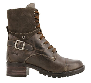 Outside angle of Grey lace up combat boot with removable footbed and rubbe outsole - size 36