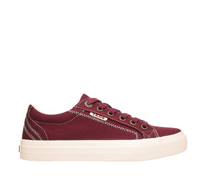"""Outside of Plim Soul Burgundy Canvas sneaker with laces, removable footbed, & durable, flexible rubber outsole. - size 6"""