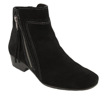 "Load image into Gallery viewer, ""3/4 Angle of  Delilah Black Suede Low heel suede boot featuring outside zipper"