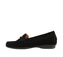 Load image into Gallery viewer, Instep angle of Black Suede loafer featuring suede upper materials and a suede footbed - size 6