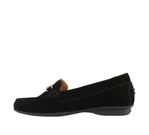 Instep angle of Black Suede loafer featuring suede upper materials and a suede footbed - size 6