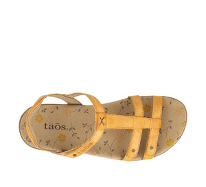 Top down angle of Golden Yellow adjustable leather sandal with microfiber footbed - size 6