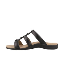 Load image into Gallery viewer, Instep Angle of Black Slide sandal with three adjustable hook & loop straps  - size 7