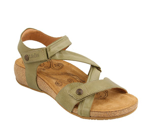3/4 Angle of Herb Green leather adjustable sandal with suede footbed & rubber outsole - size 36