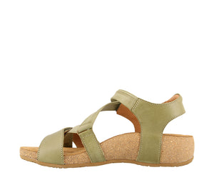 Instep Angle of Herb Green leather adjustable sandal with suede footbed & rubber outsole - size 36