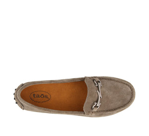 Top down angle of Grey Suede loafer featuring suede upper materials and a suede footbed - size 6