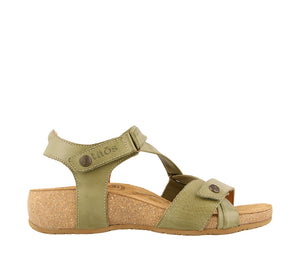 Outside Angle of Herb Green leather adjustable sandal with suede footbed & rubber outsole - size 36