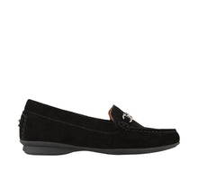 Load image into Gallery viewer, Outside angle of Black Suede loafer featuring suede upper materials and a suede footbed - size 6