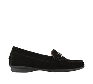 Outside angle of Black Suede loafer featuring suede upper materials and a suede footbed - size 6