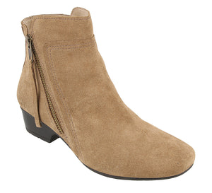 """3/4 Angle of  Delilah Taupe Suede Low heel suede boot featuring outside zipper"