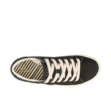 Load image into Gallery viewer, Top down angle of Black Denim Canvas lace up sneaker with removeable footbed - size 6