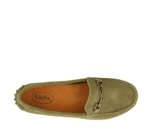 Top down angle of Herb Green Suede loafer featuring suede upper materials and a suede footbed - size 6