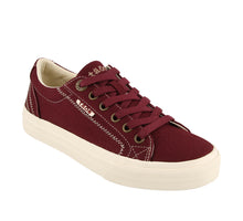 "Load image into Gallery viewer, ""3/4 Angle of  Plim Soul Burgundy Canvas sneaker with laces"