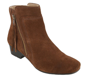 """3/4 Angle of  Delilah Chocolate Suede Low heel suede boot featuring outside zipper"