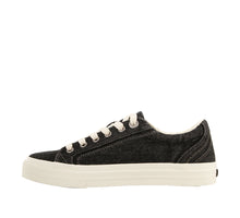 Load image into Gallery viewer, Instep angle of Black Denim Canvas lace up sneaker with removeable footbed - size 6