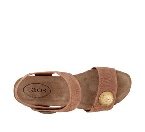 Top down angle of Blush Embossed Suede wedge sandal featuring hook and loop straps and rubber outsole - size 36