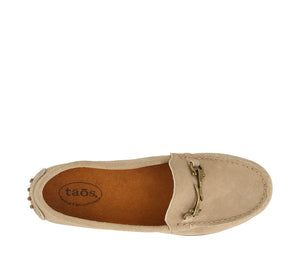 Top down angle of Sand Suede loafer featuring suede upper materials and a suede footbed - size 6