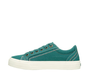 """Instep of Plim Soul Teal Green Canvas sneaker with laces, removable footbed, & durable, flexible rubber outsole. - size 6"""