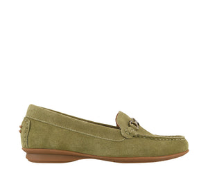 Outside angle of Herb Green Suede loafer featuring suede upper materials and a suede footbed - size 6