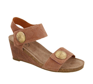 Three quarter angle of Blush Embossed Suede wedge sandal featuring hook and loop straps and rubber outsole - size 36