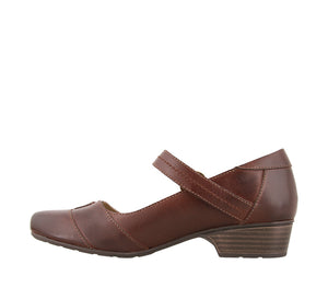 Instep angle of Brunette leather mary jane with adjustable hook and loop straps, lined in microfiber - size 6