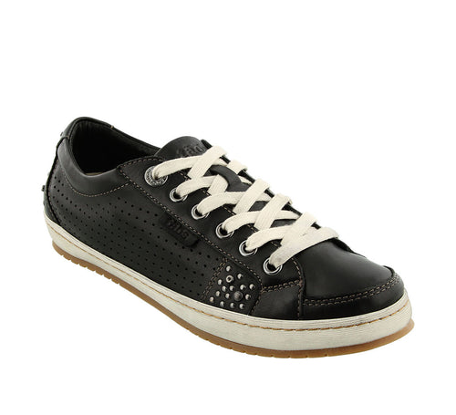 Three quarter angle of Black Casual leather sneaker with removable footbed and rubber outsole  - size 6